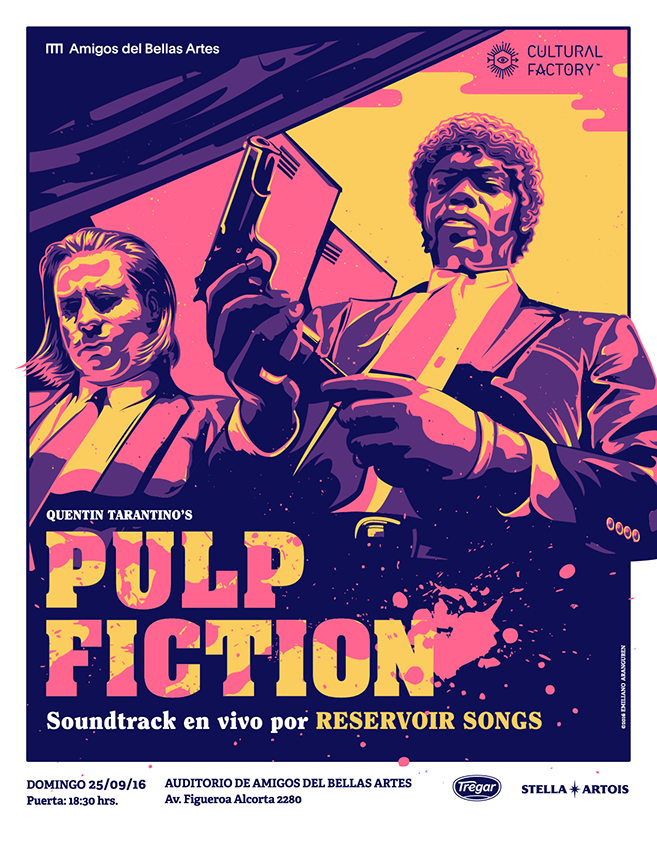 Porster for Pulp Fiction live show in the auditorium of Bellas Artes - Buenos Aires - Argentina