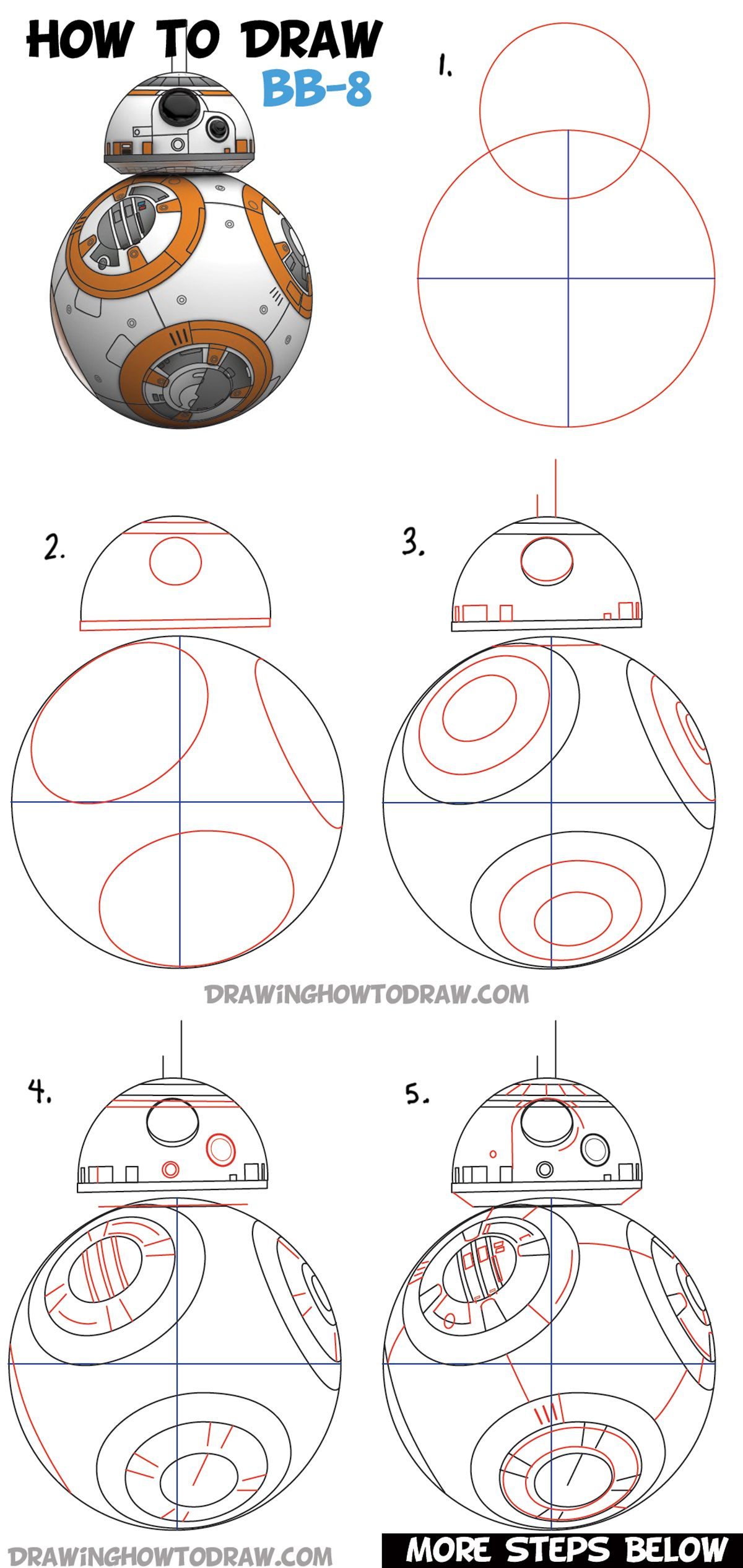 For More Photos Diagrams And Tutorials Of His Cool Origami Star War How To Draw Bb 8 Beeby Ate Droid From Wars Drawing Tutorial The Ball Step By Lesson