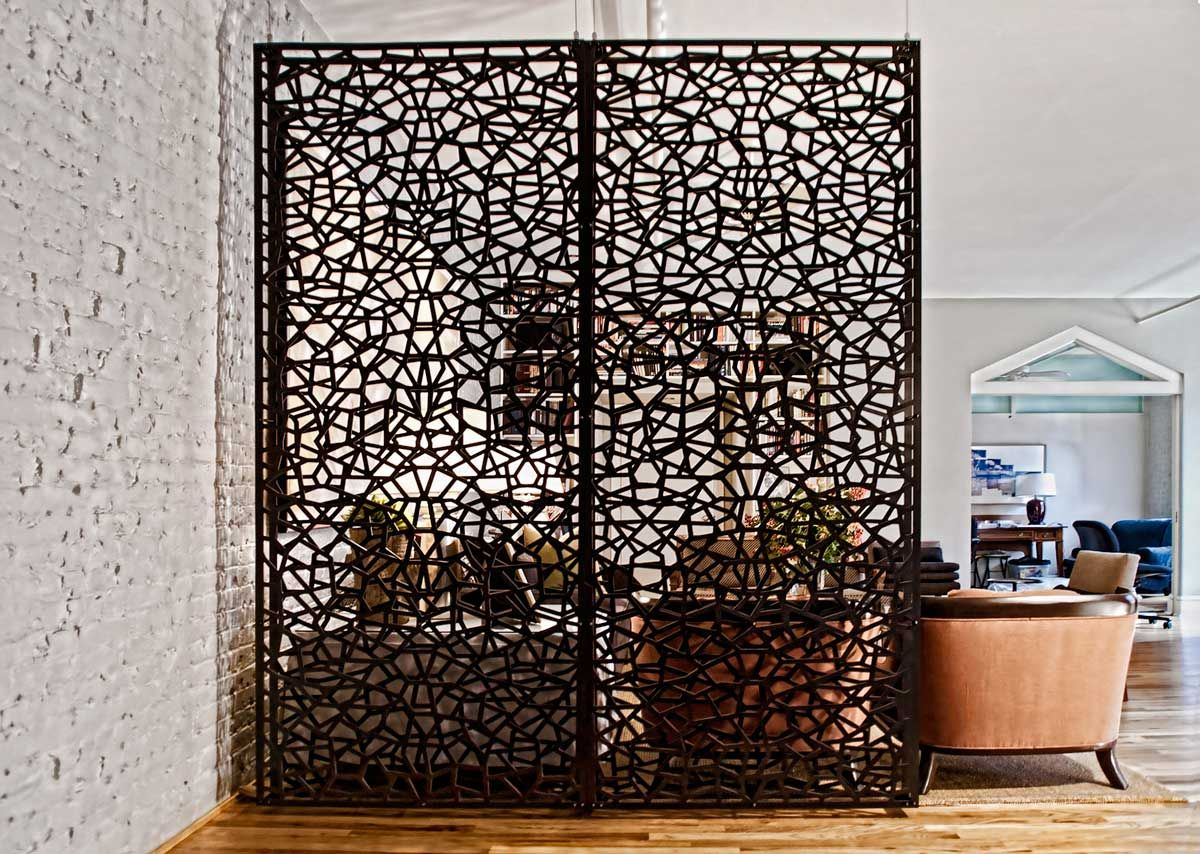 Intricate design of this room partition adds to this for Wall separator