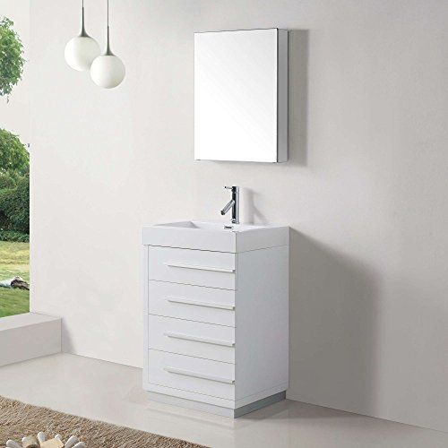 Virtu USA JS-50524-GW 24-Inch Bailey Single Sink Bathroom HOME