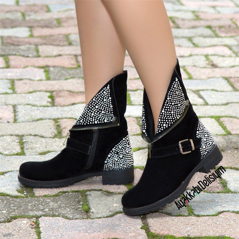 Siyah Lame Tasli Bot Bootie Boots Black Shoes Siyah Cizmeler Bot Kisa Bot