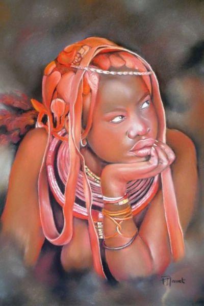Tableau Peinture Portrait Himba Pastel Femme Himba Jeune Fille