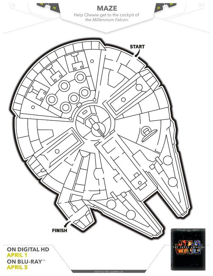 Star Wars Printable Millennium Falcon Maze | Star wars diy ...