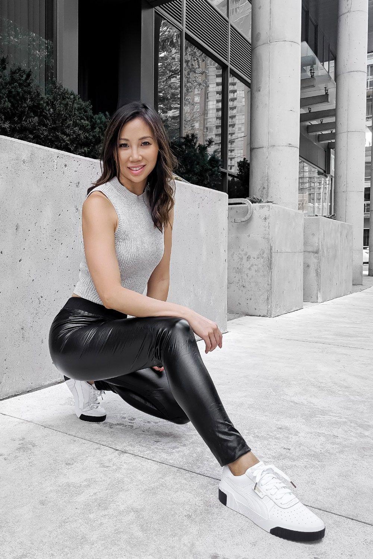 Athleisure look #OOTD liquid leggings, Puma Cali, Fashion