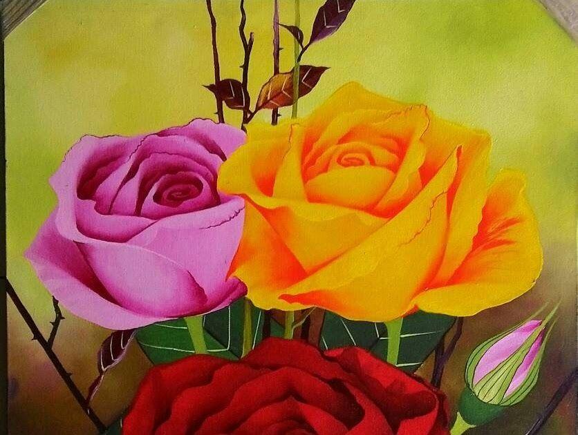 11 Lukisan Bunga Mawar Di Dinding Di 2020 Dengan Gambar Lukisan Bunga Mawar Bunga