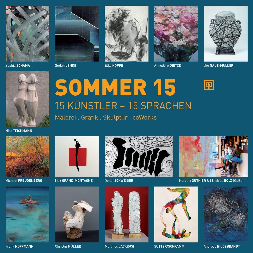 Folder Front Einladung Ausstellung SOMMER 15 in der galerie sybille nütt Dresden