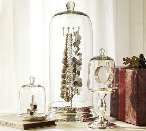 Pretty Display Storage For Jewelry Glass Cloche Home