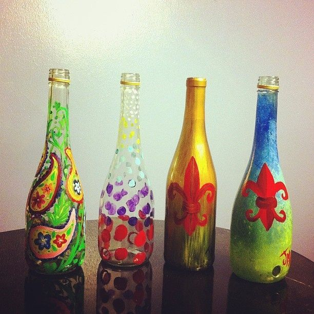 hand painted glass bottles Glass Art shelving Pinterest