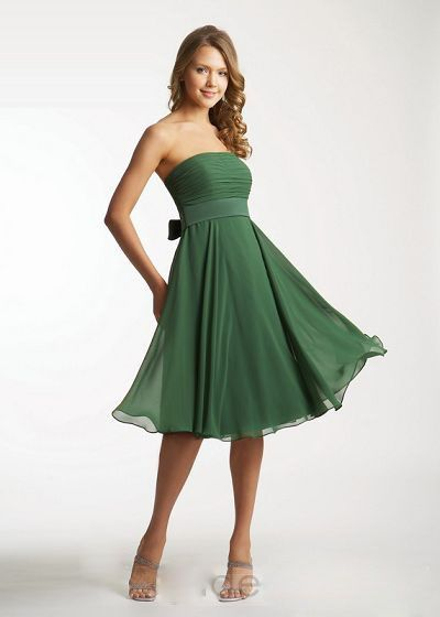 Best seller dark green strapless tea length with a sash short ...