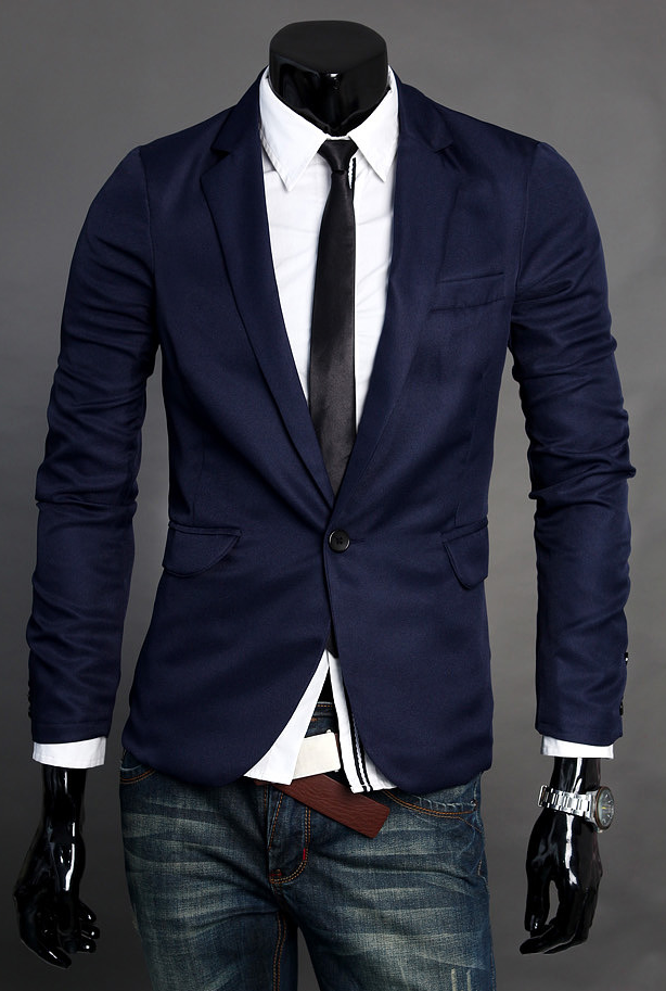 Sophisticated Simple Dark Blue Polyester Blend Blazer | www.pilaeo ...