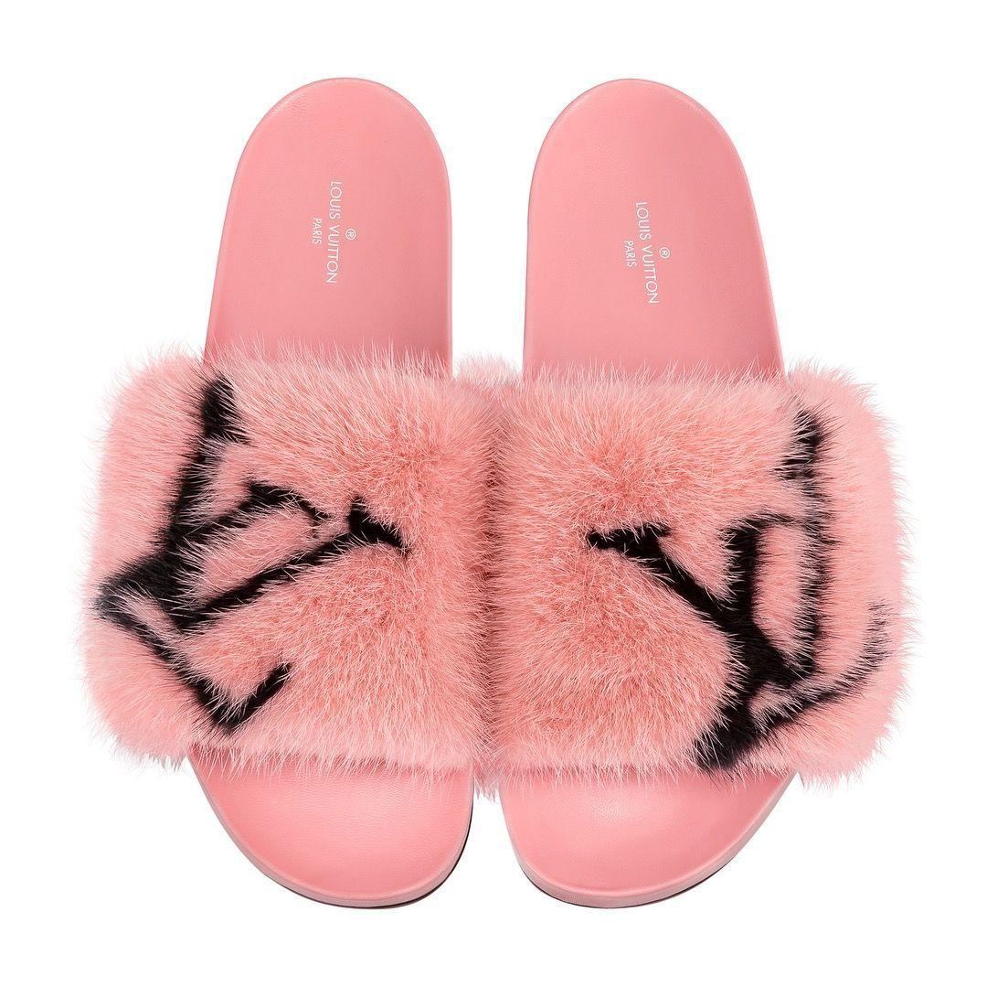 Louis Vuitton fur slides, #Fur