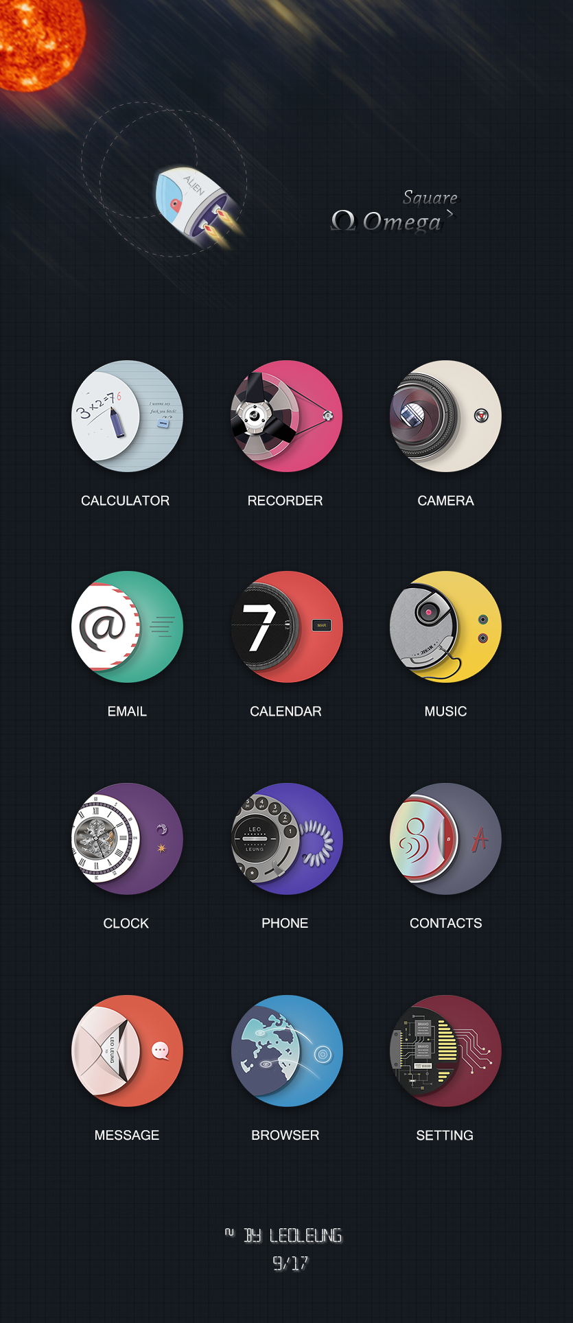 Omega Square Android theme Icons Android icon design