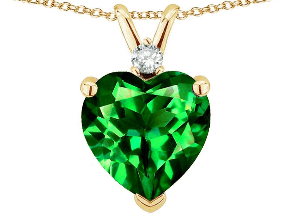 Star K 8mm Simulated Emerald Heart Pendant Necklace