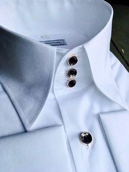 92615bab9265bbf MorCouture White Black Deluxe High Collar Shirt Рубашки Для Мужчин, Мужские  Белые Рубашки, Белые