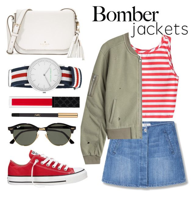 """Summer Bomber"" by minchu ❤ liked on Polyvore featuring MANGO, Converse, Zoe Karssen, Ray-Ban, Kate Spade, Laura Ashley, Gucci and Yves Saint Laurent"