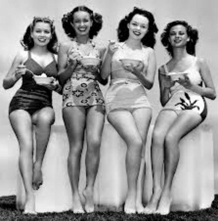 Models Posing 1940s Vintage Swimsuits Vintage Swimwear Swimwear