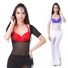 Translucent Yarn Short-sleeved Belly Dance Pushup Top | ewoomall