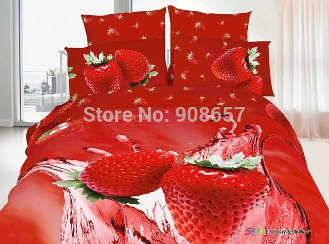 product image3d oil painting red strawberry print bedding sets
