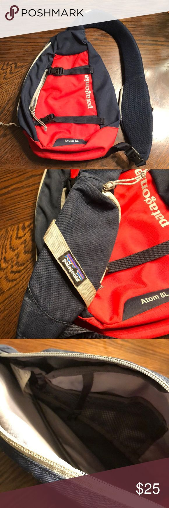 Patagonia Atom Sling Bag 8L Gently used Good condition Padded backside Blue a   Patagonia Atom Sling Bag 8L Gently used Good condition Padded backside Blue a