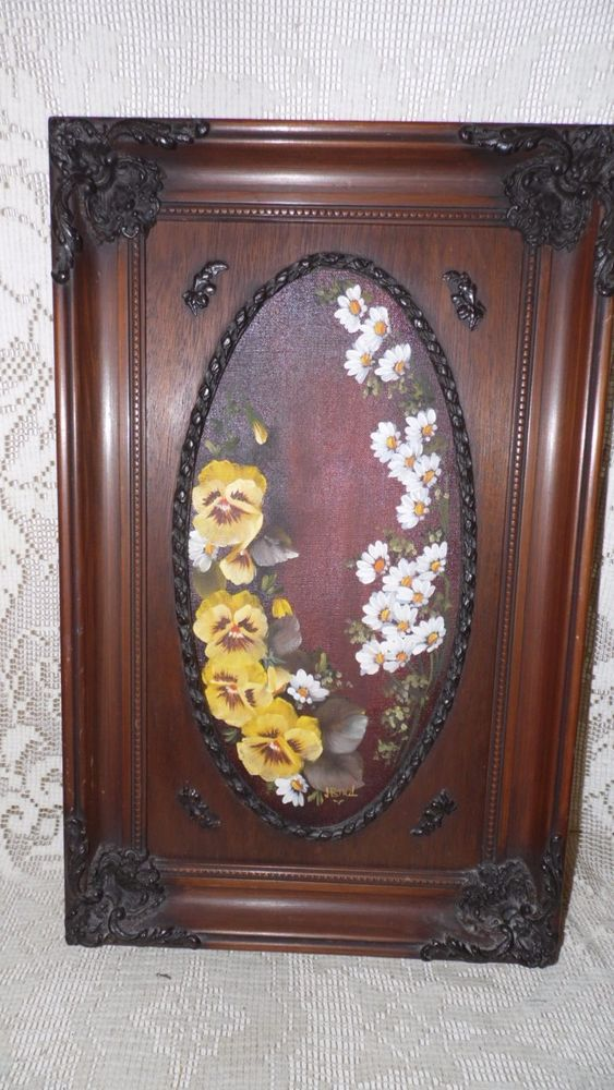 Custom floral oil painting on canvas signed j. bird ornate wood ...