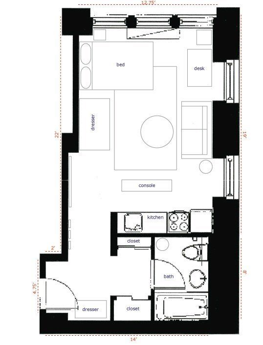 350 Square Foot Micro Apartment Apartment Layout Studio Apartment Layout Studio Apartment Design