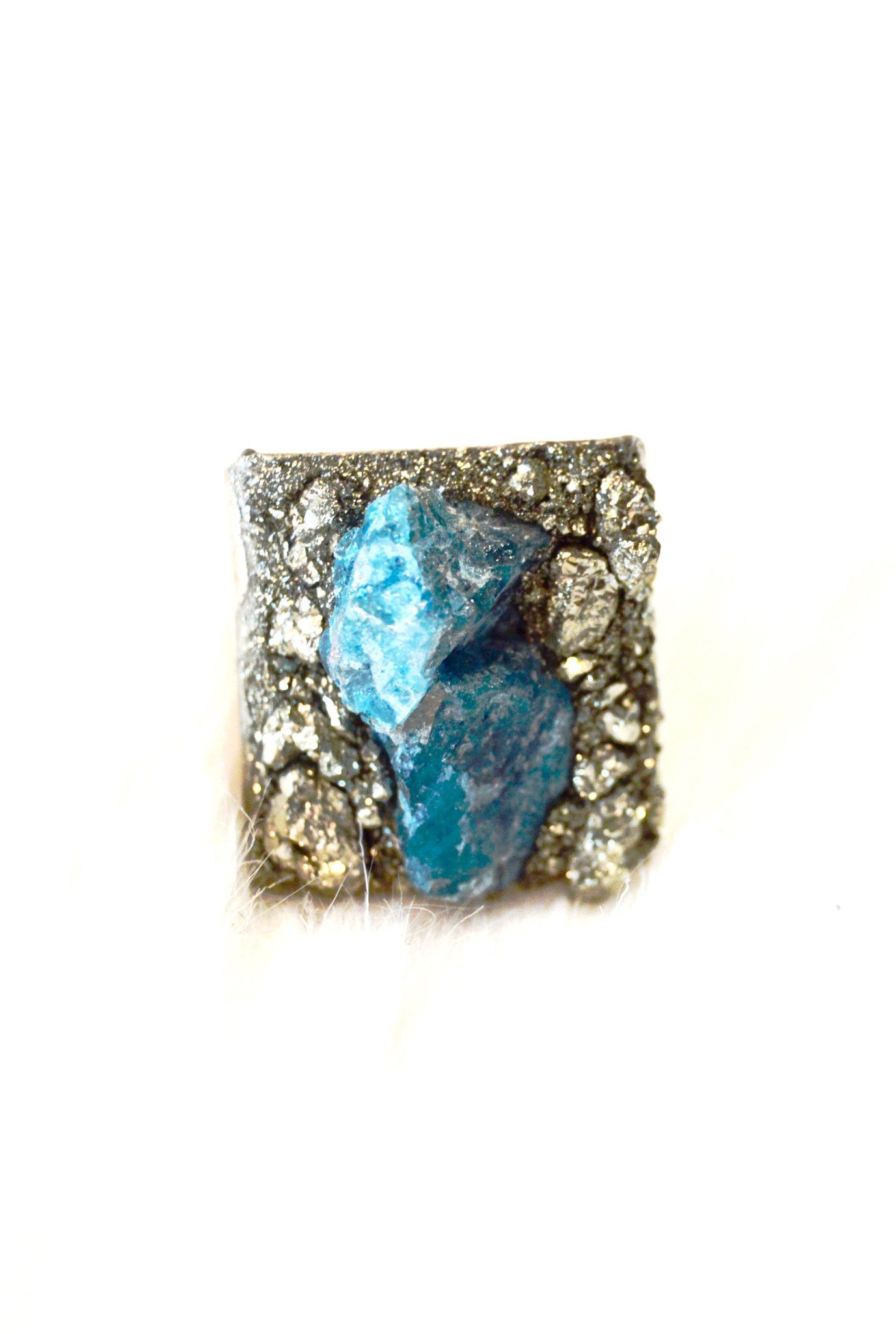 Apatite and Pyrite Silver Essential Ring