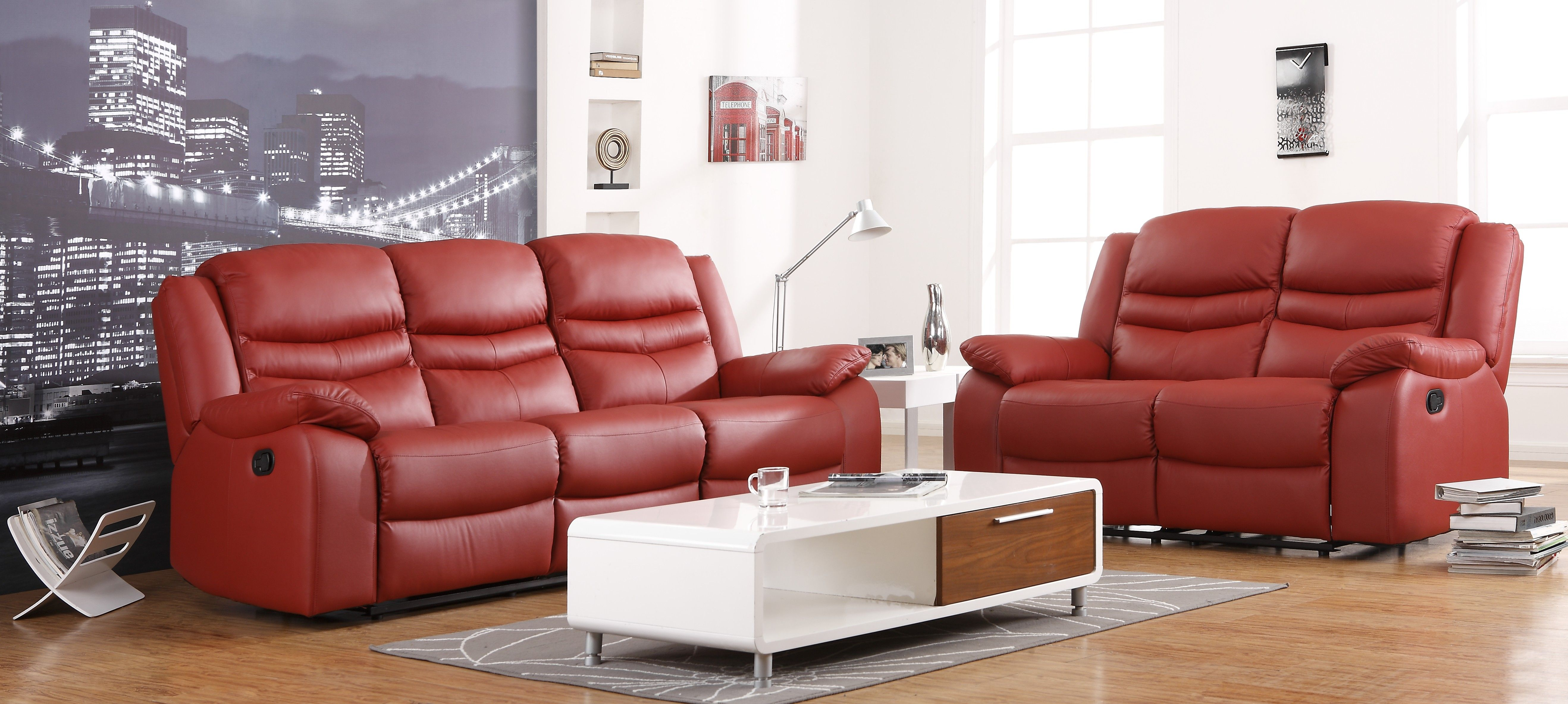 3+2 Seater Red Leather Sofa
