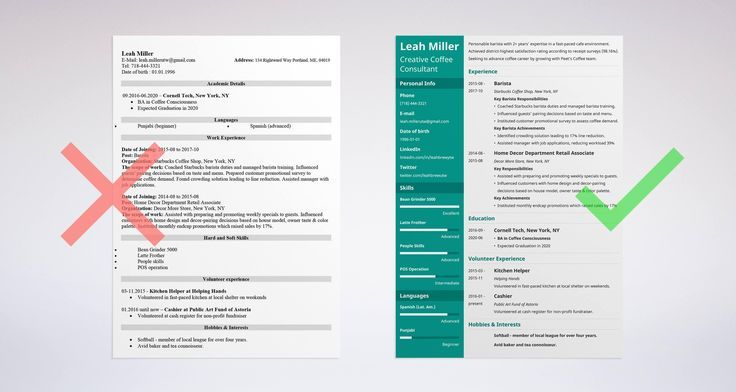 Right vs wrong barista resume example resume template