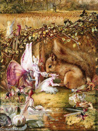 L écureuil blessé de John Anster Fitzgerald (1819-1906, United Kingdom)