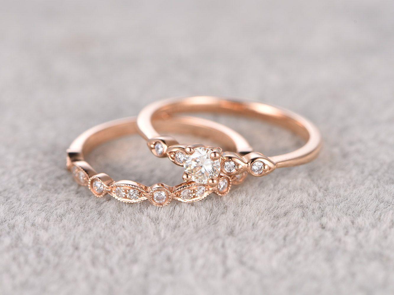 2pcs moissanite bridal setengagement ring rose goldhalf