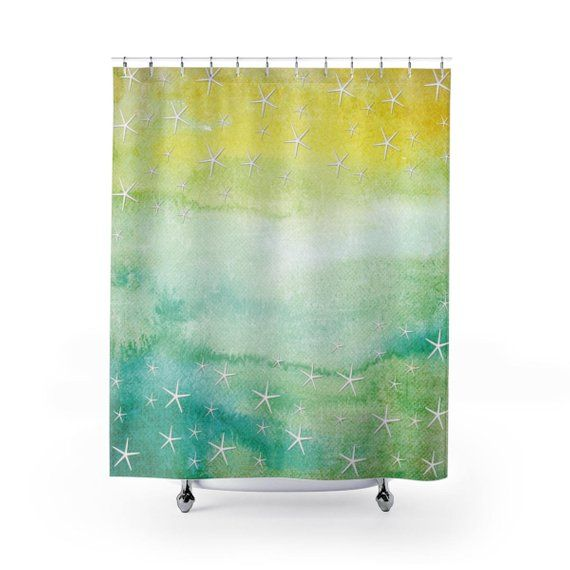 Yellow Green And Aqua Nautical Shower Curtain Set Starfish