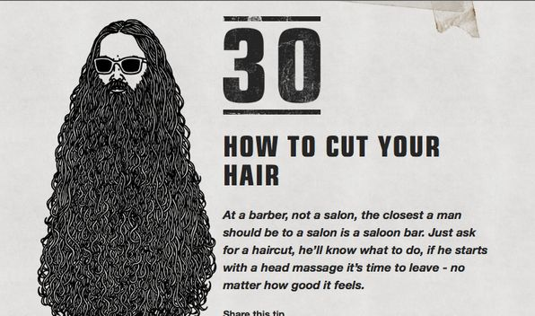 """The makers of Luksusowa Vodka have a new ad campaign in which they call the product """"vodka for men"""" and offer numerous tips on """"HOW TO BE A MAN"""" Here are some of those tips... Tip #30 """"How to Cut Your hair"""""""