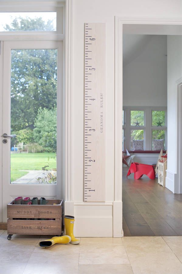 Wooden ruler height chart in washed white also growth grey and putty  lovely home rh pinterest