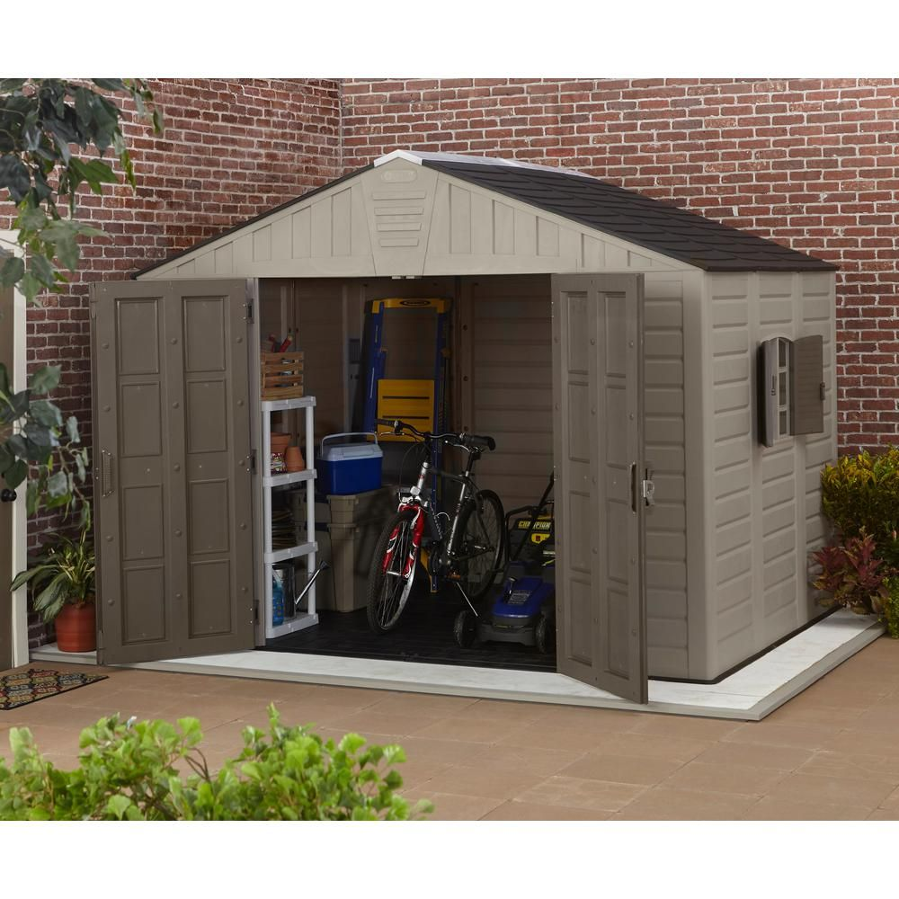 Us Leisure 10 Ft X 8 Ft Keter Stronghold Resin Storage Shed 157479 The Home Depot Resin Storage Shed Plastic Sheds