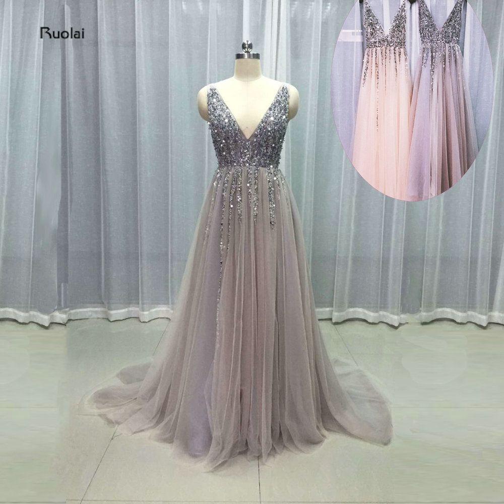 Vestido de Festa Evening Dress Long V neck Grey Sparkly Party Dress 2017  Elegant Prom Dress 0df19fd0d98e