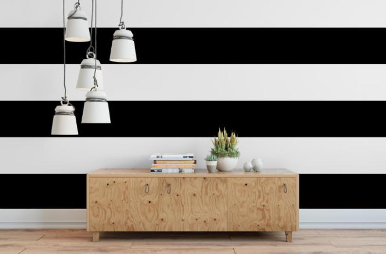 Black and White Stripe Removable Wallpaper // Modern