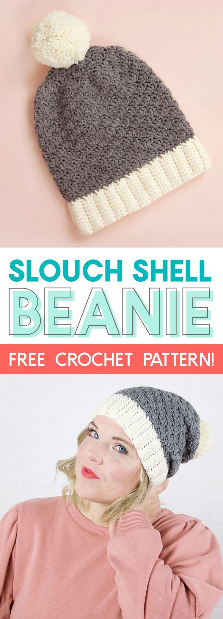 Slouchy Shell Crochet Hat Pattern: Free Crochet Beanie Pattern ...