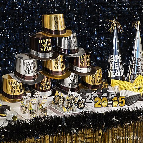 Black Gold Silver New Year New Years Eve Party Ideas