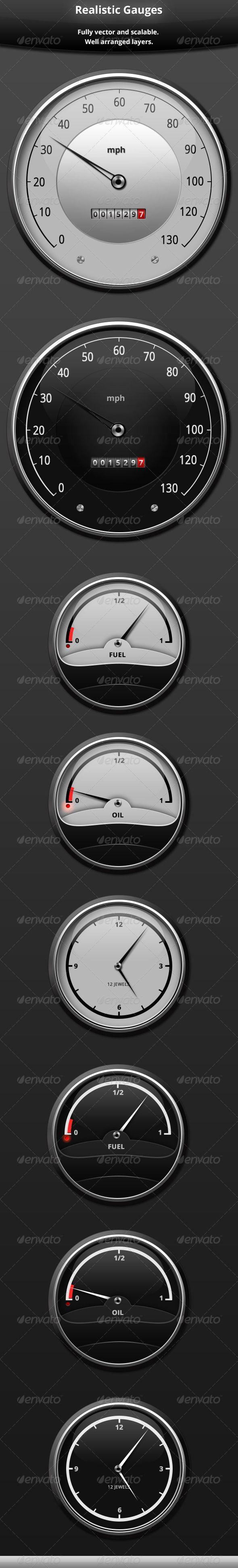 Realistic Gauges Car Gauges Car Clock Gauges