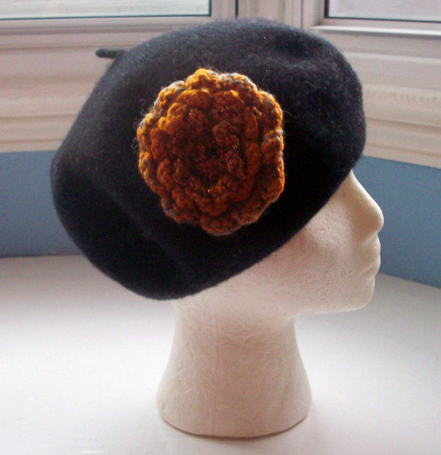 Beret, wool, black, embellished with a flower pin sparkly corsage hand knit…