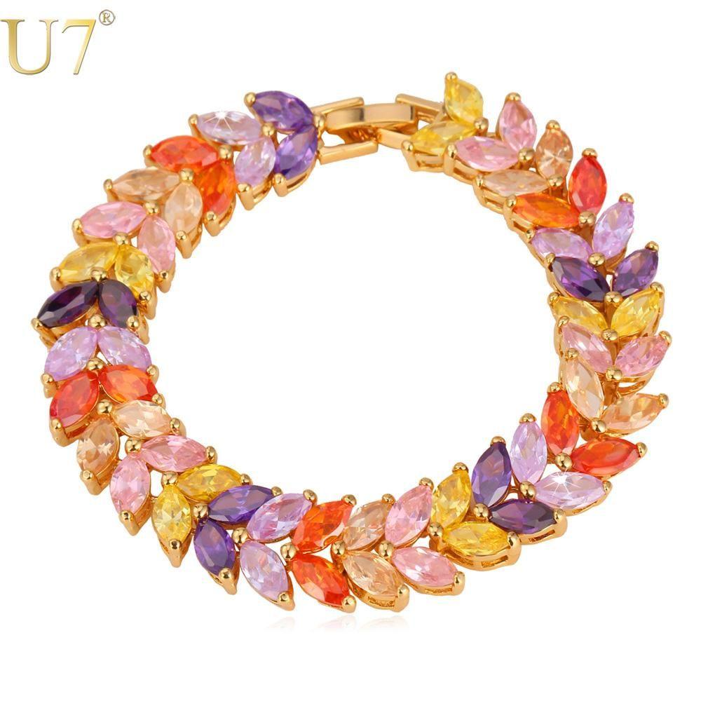 U luxury aaa zircon bracelet gold color colorful cubic zirconia