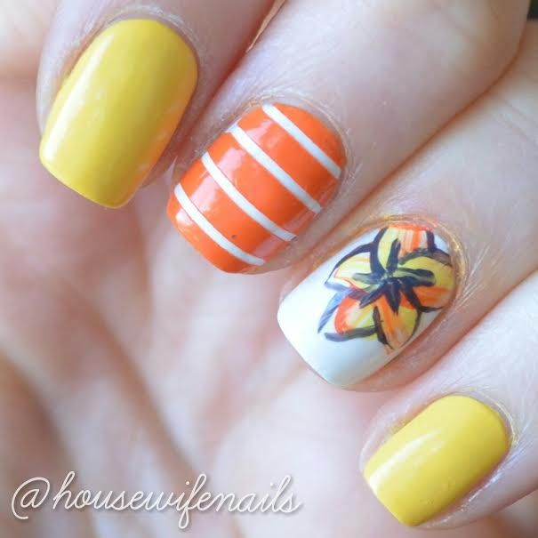 Yellow orange nails easy nails nail art striped nails floral yellow orange nails easy nails nail art striped nails floral nails tiger liliesstriped prinsesfo Image collections