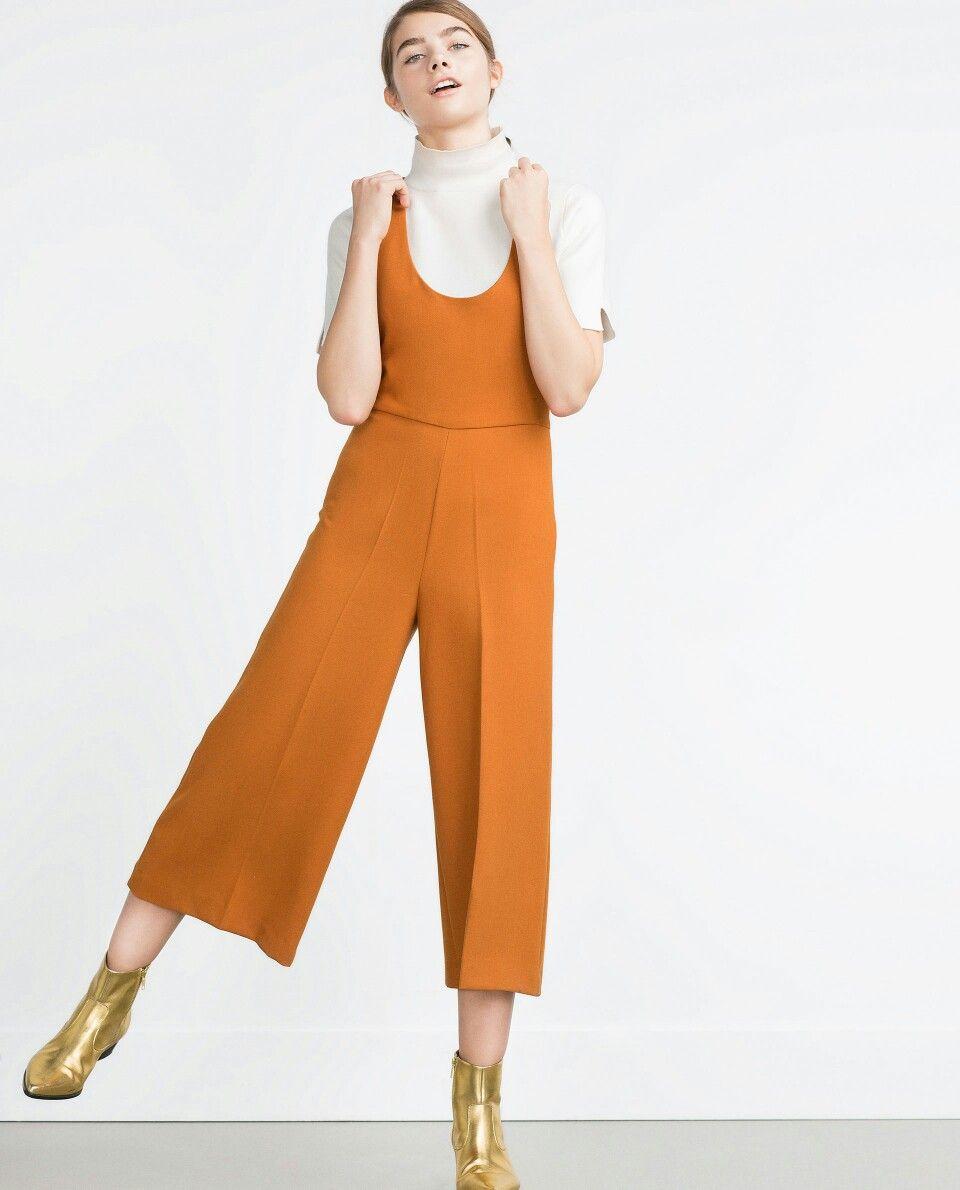7fe6c758fd6a Culotte jumpsuit in burnt orange from zara
