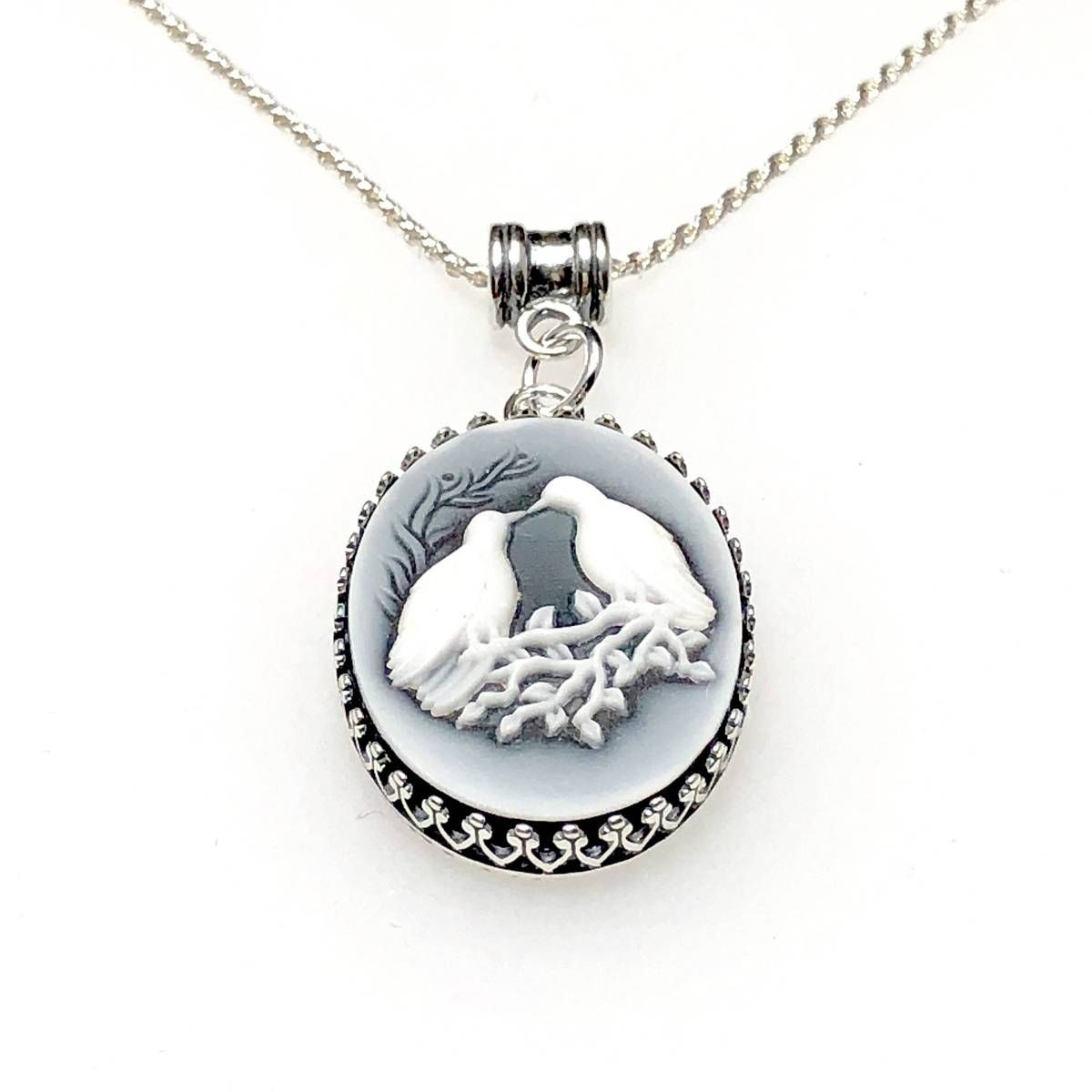 Anniversary gift for wife bird necklace blue cameo