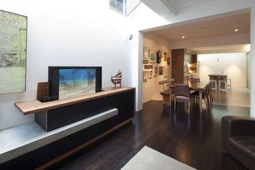 The Great Cover Up 7 Ways To Disguise Your Tv Tidbits Twine Living Room Without Tv Hidden Tv Furniture Design Modern