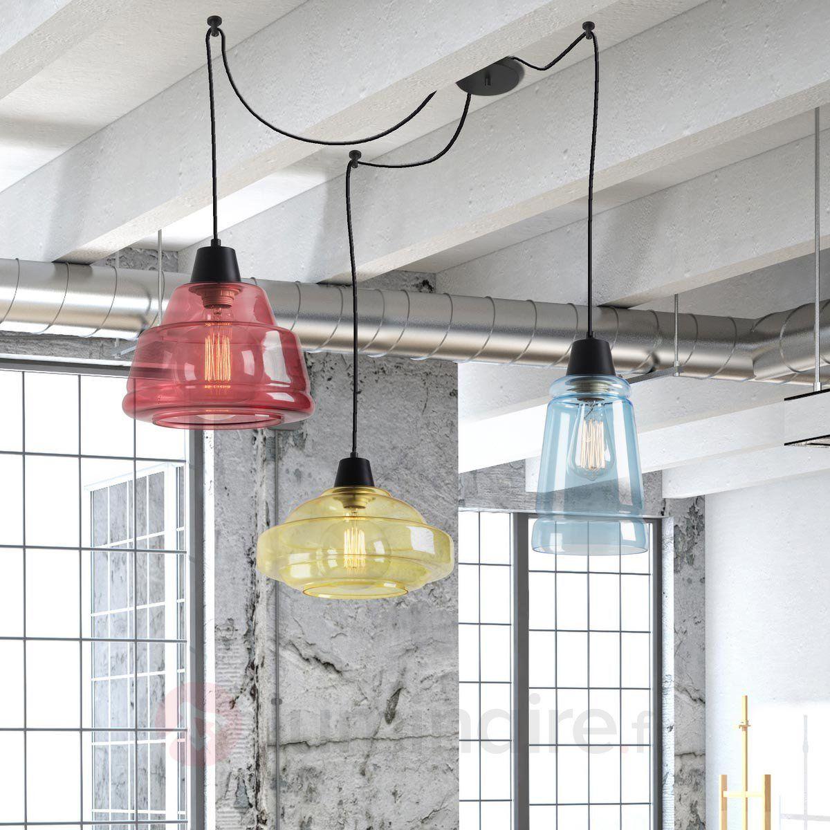 suspension haute en couleurs color 3 lampes style. Black Bedroom Furniture Sets. Home Design Ideas