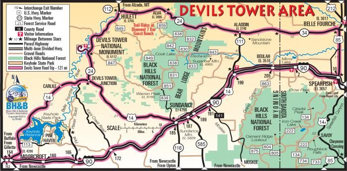 Devils Tower Map | Black Hills Maps in 2019 | South dakota vacation on