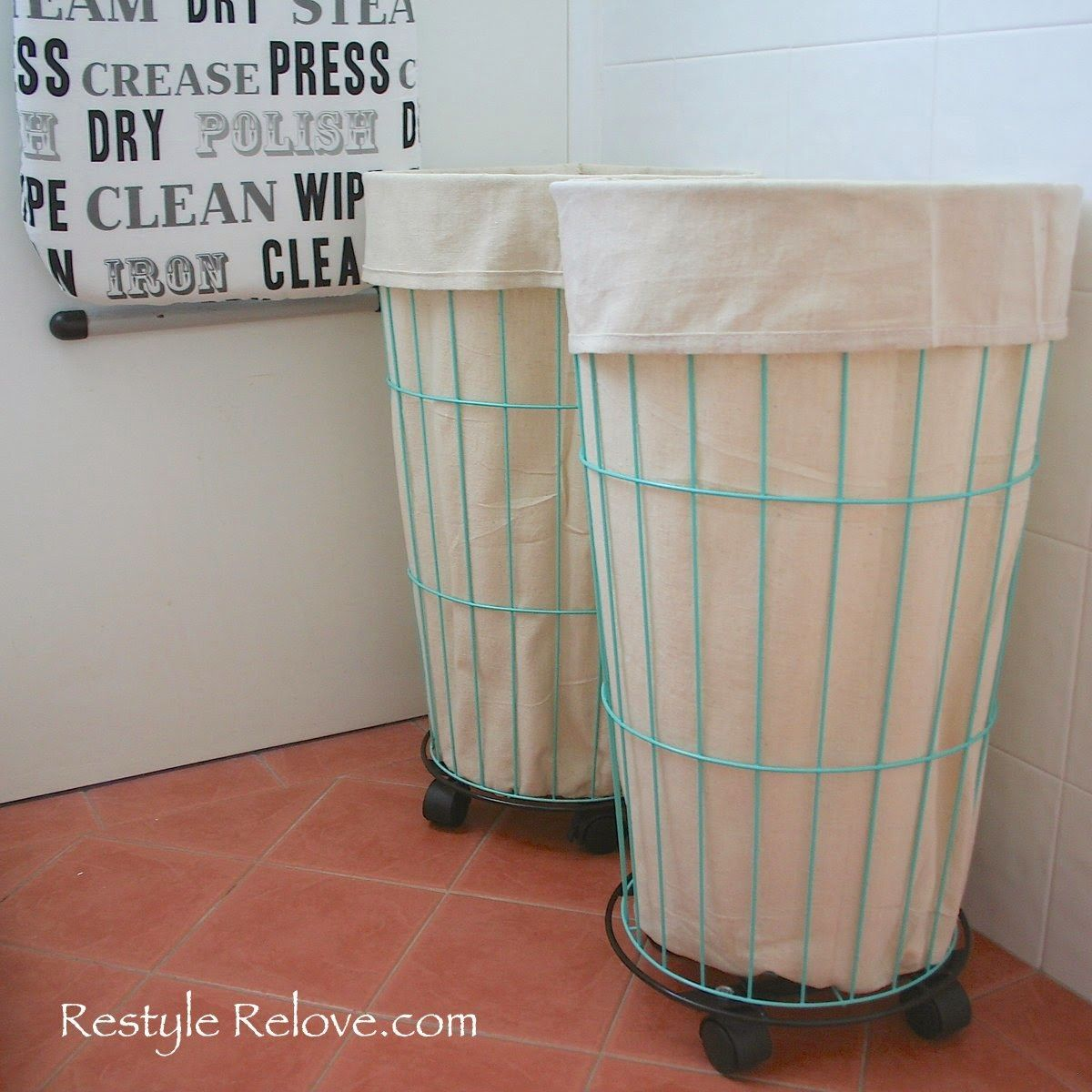 Drop Cloth Lined Wire Laundry Baskets