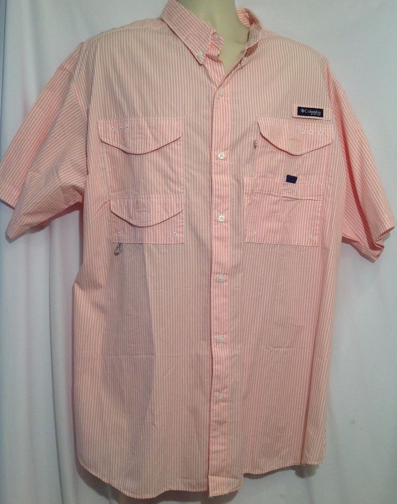 aa3b862127f Columbia Mens 1X ~ Super Bonehead Omni-Shade Pink Vented Short Sleeve Shirt   Columbia  ButtonFrontShirt