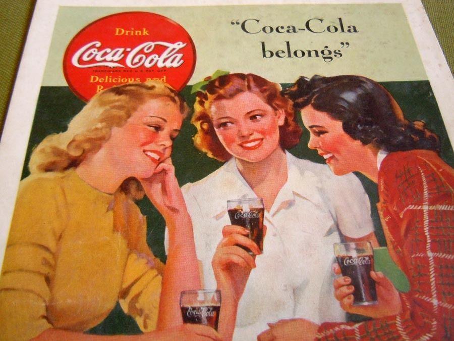 Vintage 1941 Coca Cola Coke Ad Advertisement Soda Fountain Coke Glasses Sign #CocaCola